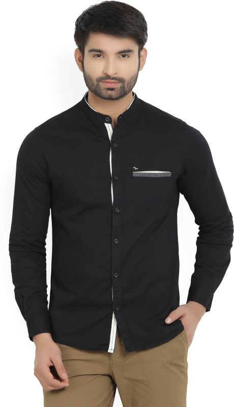 Spykar Mens Solid Casual Black Shirt