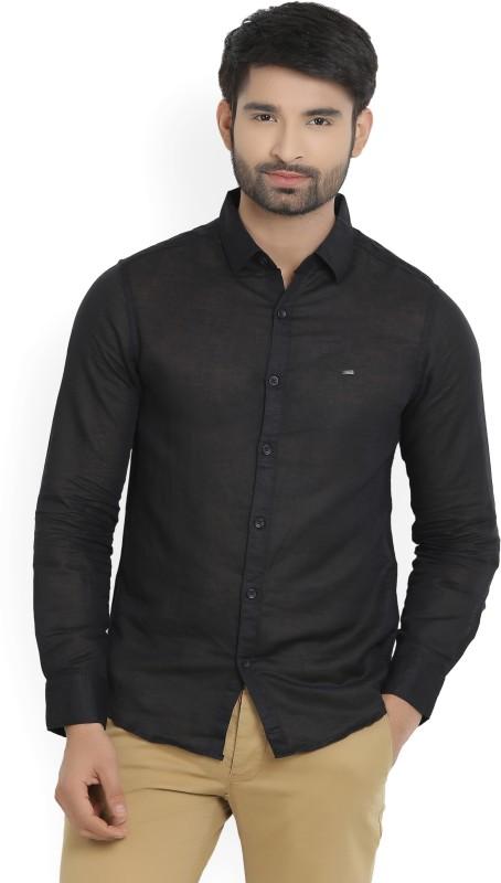 Spykar Mens Solid Casual Black Shirt