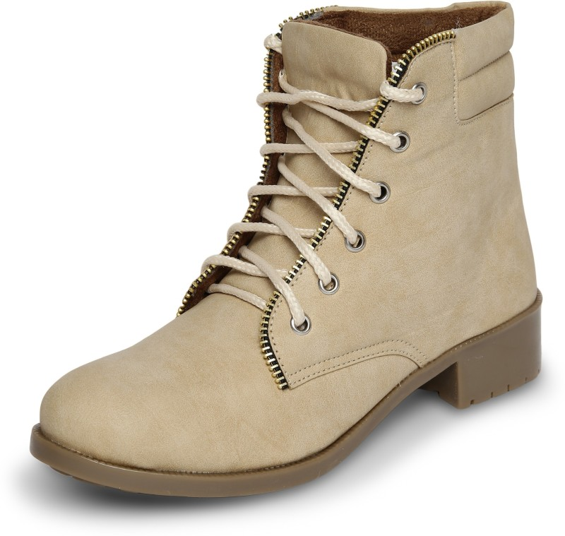 Marc Loire Marc Loire Womens Beige Solid Round Toe Lace up Casual Shoes Boots Flats Boots For Women(Beige)