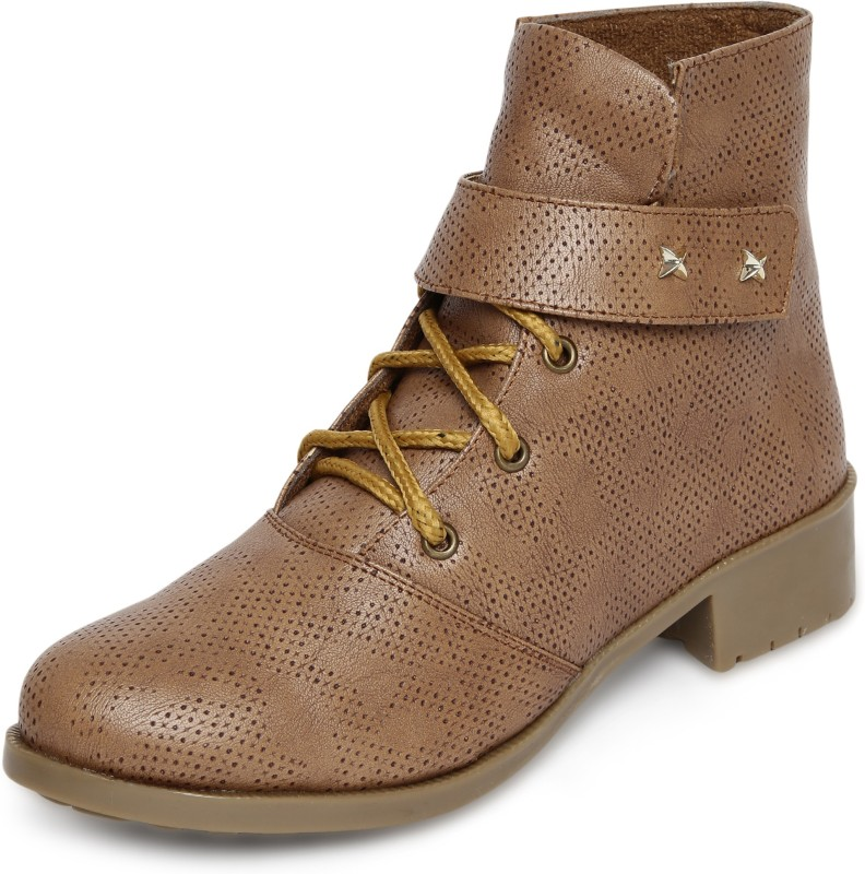 Marc Loire Marc Loire Womens Tan Solid Round Toe Velcro Casual Shoes Boots Flats Boots For Women(Tan)
