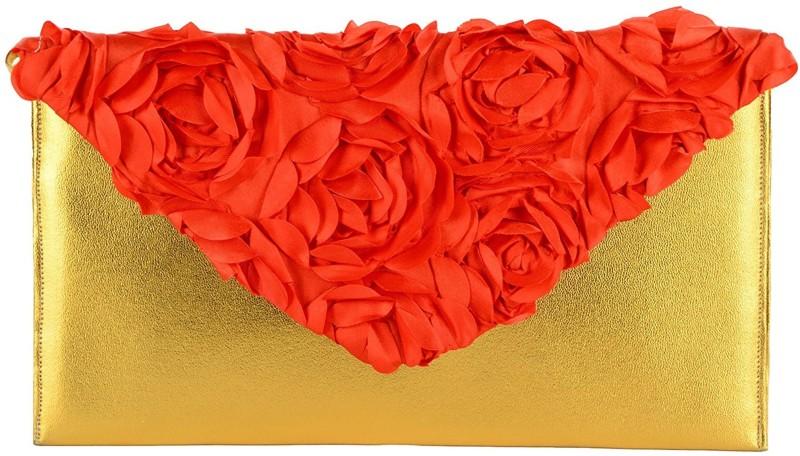 Tooba Handicraft Red, Gold Clutch