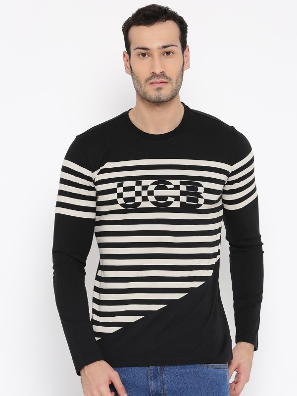 United Colors of Benetton Striped Mens Round Neck Black T-Shirt