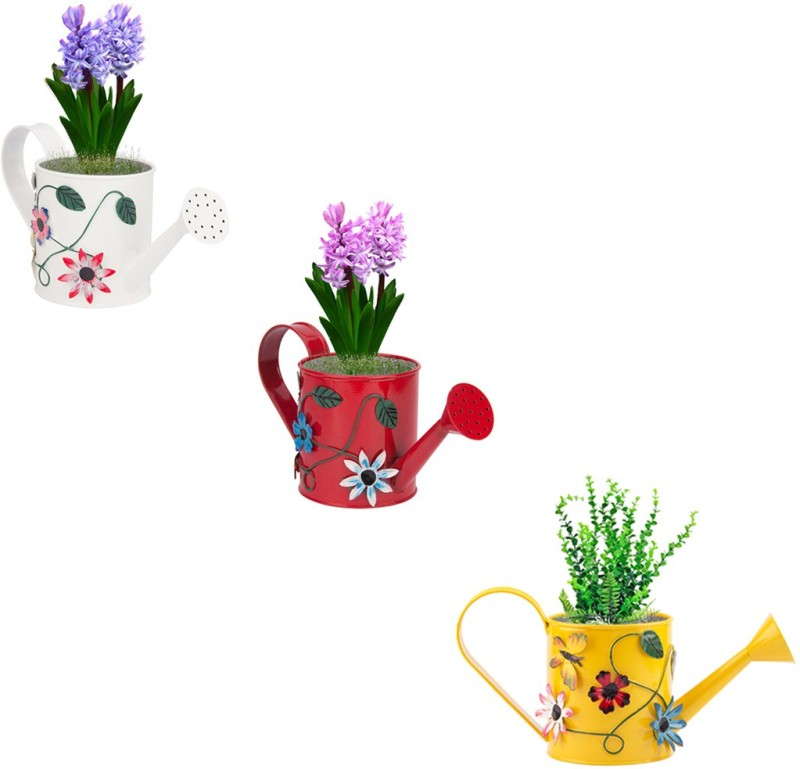 NUHA Set of 3 Hand Painted Watering Can 1 L Water Cane(Multicolor, Pack of 3)
