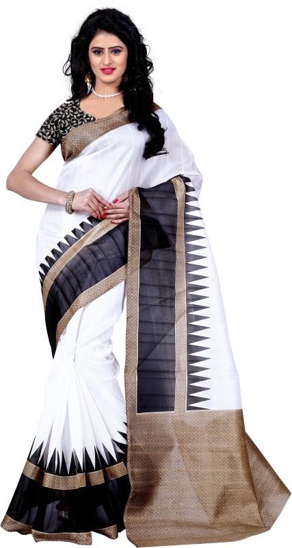 Trendz Style Printed Bhagalpuri Cotton Linen Blend Saree(Black)