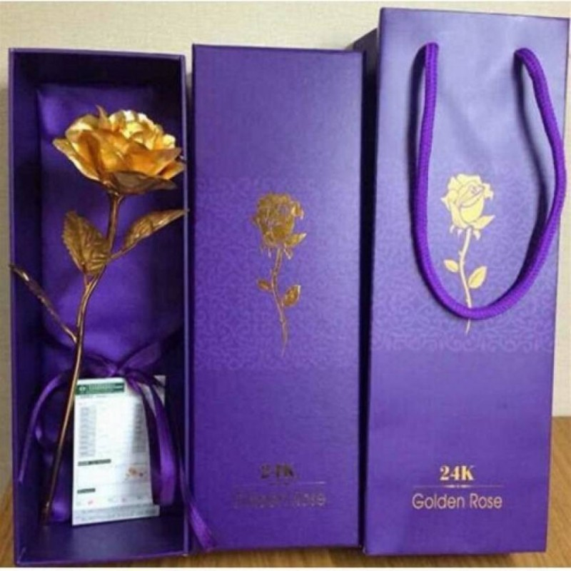 Bluebells India GIFT Valentine Special 24K Gold Finish Rose With Gift Box And Carry Bag With Lifetime Warrant Card (27 Cm X 9.5 Cm X 6 Cm, Golden) Gold Rose Gold Rose Artificial Flower(9.5 inch, Pack of 1)