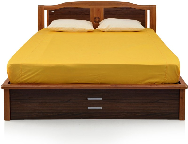 RoyalOak Daisy Engineered Wood Queen Bed With Storage(Finish Color - Honey Brown)