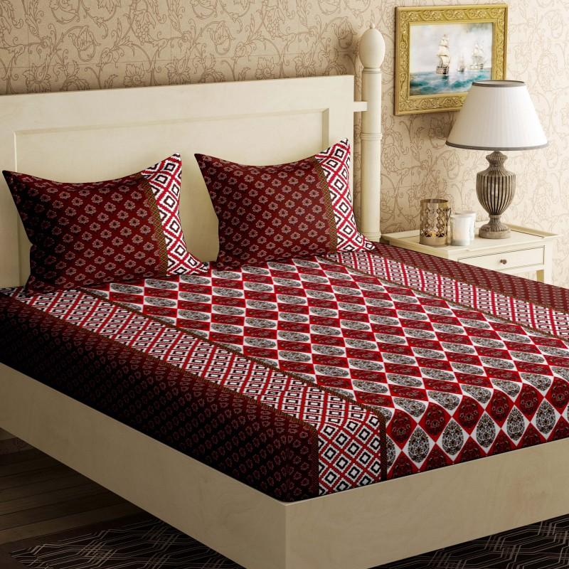 Bella Casa 104 TC Cotton Double Floral Bedsheet(1Bed-sheet,2 Pillow covers, Multicolor)