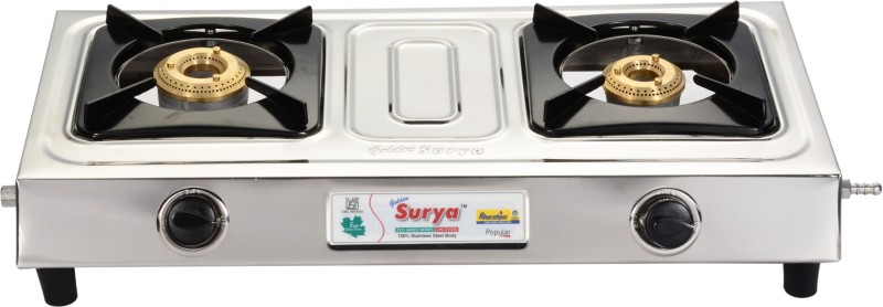 GOLDEN SURYA BGS-201-POPULAR Stainless Steel Manual Gas Stove(2 Burners)