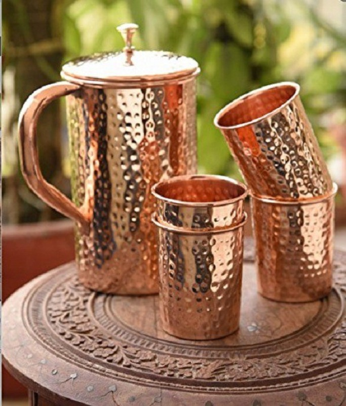 GoldGiftIdeas Copper Hammered Jug Pitcher With 4 Glass Tumbler, Wine Pitcher(1500 L, 300 L, Pack of 5)