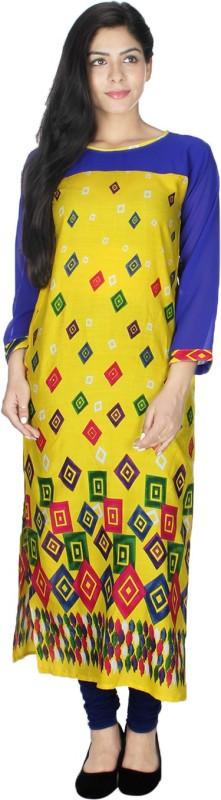 Crease & Clips Casual Printed Women's Kurti(Yellow)