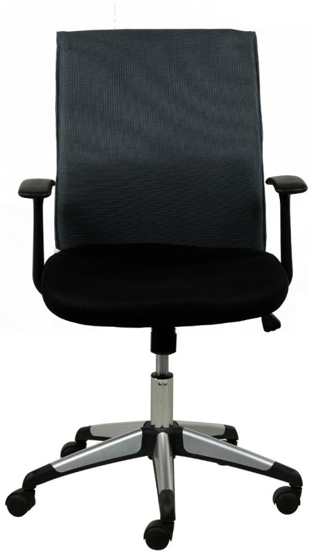 RoyalOak Vegas Fabric Office Arm Chair(Black)