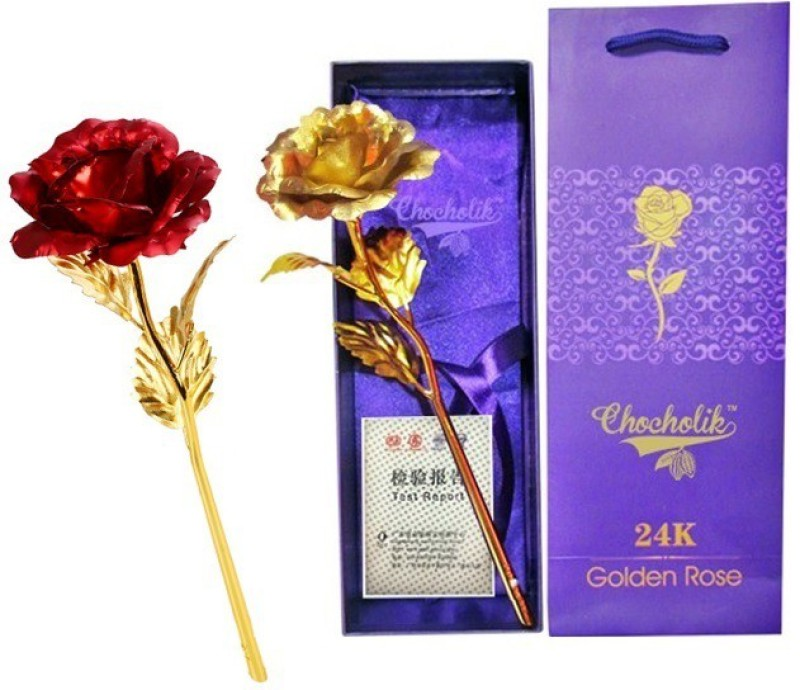 GoodsBazaar Golden Rose 10 Inches With Gift Box Red, Gold Rose Artificial...