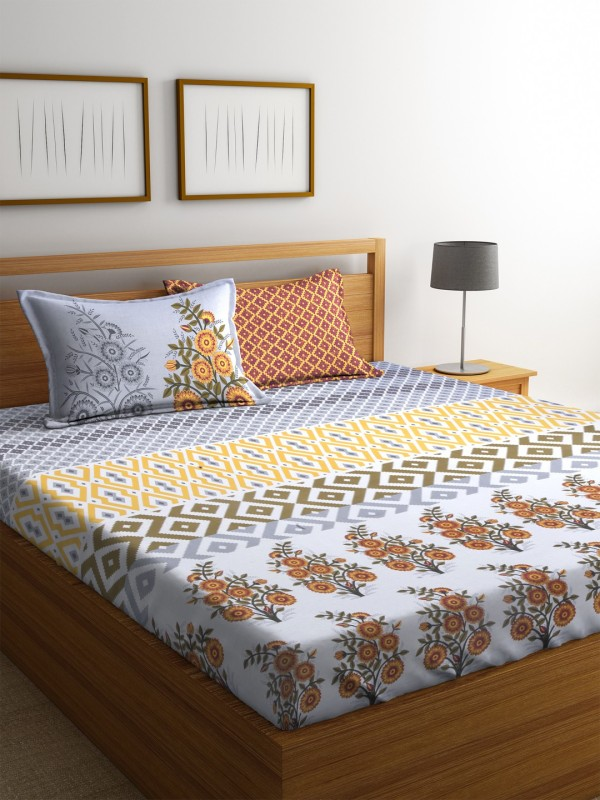 Dreamscape 140 TC Cotton Double Floral Bedsheet(1 Bedsheet with 2 Pillowcover, Yellow)