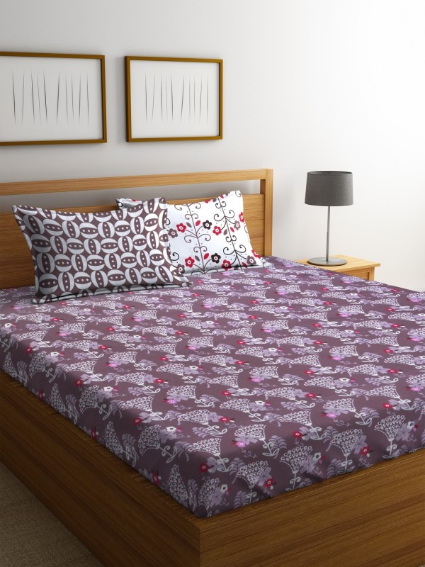 Dreamscape 140 TC Cotton Double Floral Bedsheet(1 Bedsheet with 2 Pillowcover, Brown)