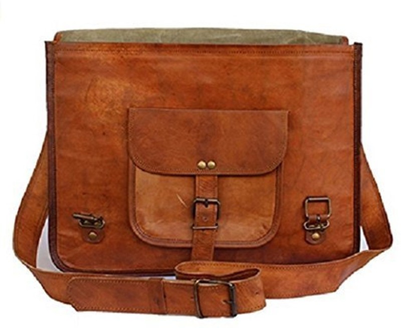 The Leather Bags House Brown Leather Briefcase Bag Medium Briefcase - For Men & Women(Brown)