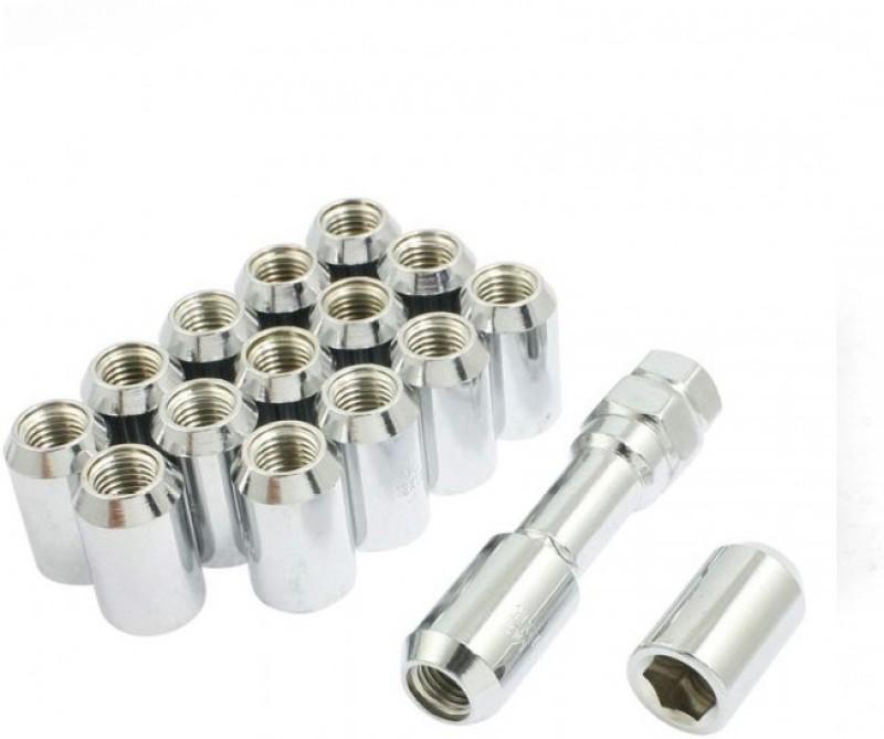 Fuji 16 Pcs M12 x 1.5 Silver Chrome Metal Hex Locking Lug Nuts Screw Anti-theft for Vehicles Car 16 Pcs M12 x 1.5 Silver Chrome Metal Hex Locking Lug Nuts Screw Anti-theft for Vehicles Car Wheel Lock