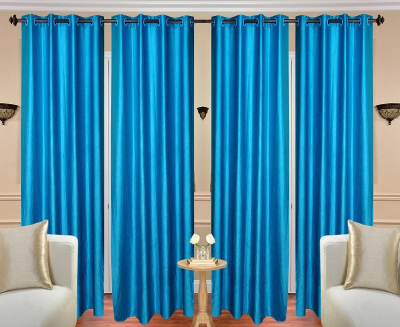 Handloom Hut 213 cm (7 ft) Polyester Door Curtain (Pack Of 4)(Solid, Plain Crush Aqua Door)