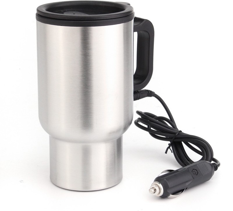 AutoSun Stainless Steel Cup Kettle Travel Coffee Heated Mug Car Based Heating Motor Hot Water Heater With Cigar Lighter Cable Electric Kettle(450 L, Silver, Black)