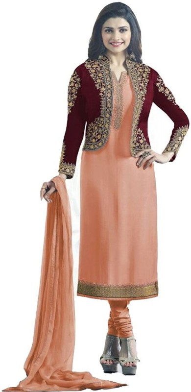 Ap Enterprise Georgette Embroidered Salwar Suit Dupatta & Waistcoat Material(Un-stitched)