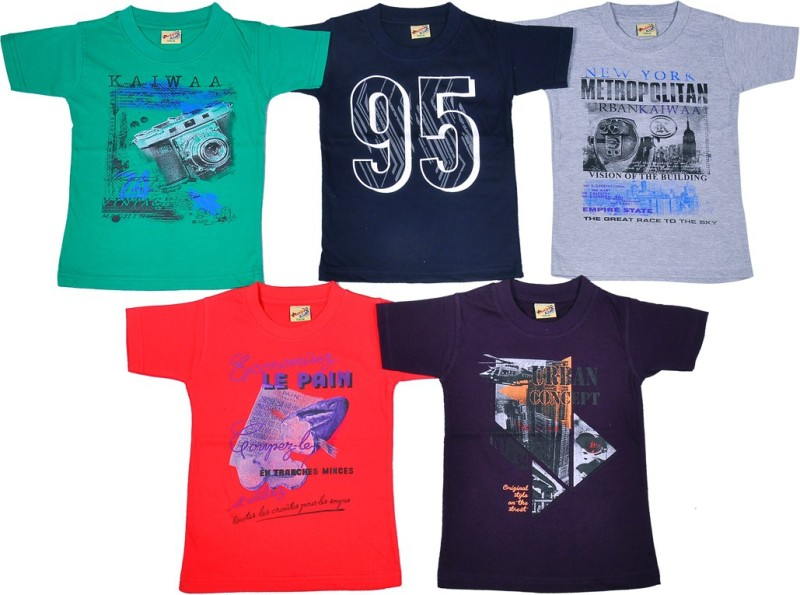 1LY GARMENTS Boys Graphic Print Cotton T Shirt(Multicolor, Pack of 5)