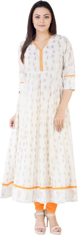 Khushal Self Design Women's Anarkali Kurta(Yellow)