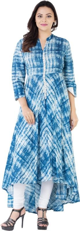 Khushal Self Design Women's Straight Kurta(Blue)