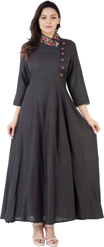 Khushal Embroidered Women's A-line Kurta(Grey)