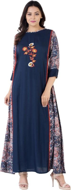Khushal Self Design Women's A-line Kurta(Blue)