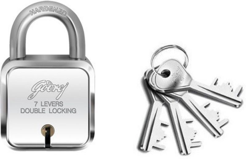 Godrej 7 levers square lock (4 keys) Padlock(Silver)