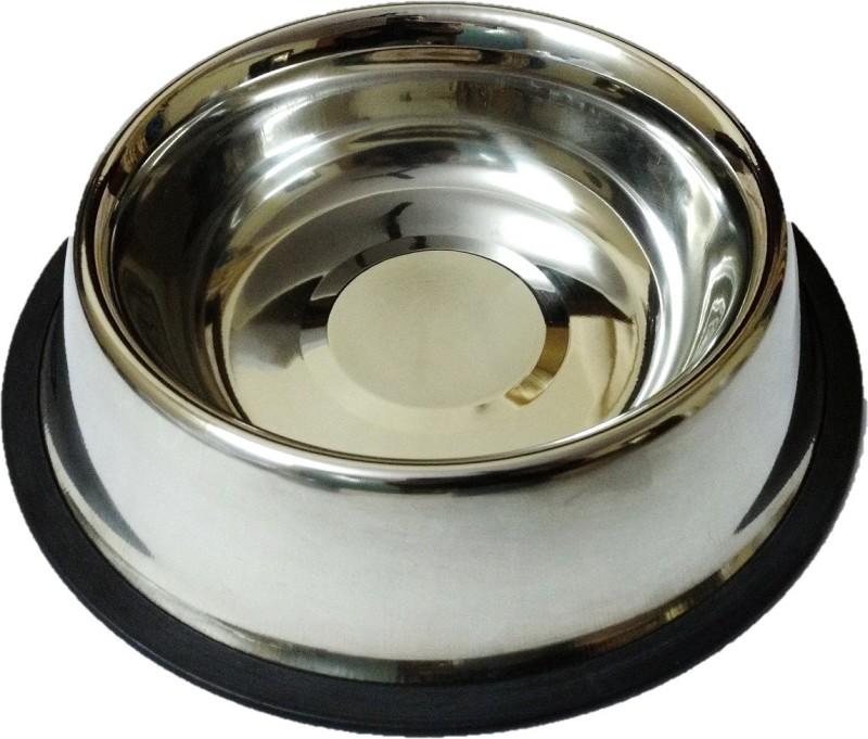 DS Creations Dog/Cat feeder bowl steel 600 Ml Round Stainless Steel Pet Bowl(600 ml Steel)