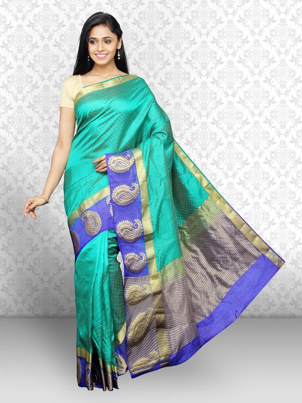 Divastri Self Design Bollywood Dupion Silk Saree(Green)