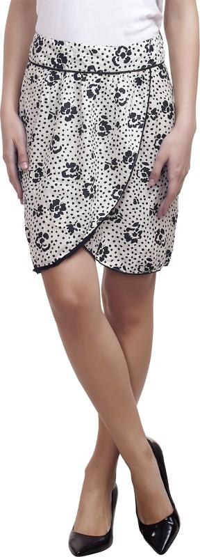 99 Affair Printed Women Layered White Skirt