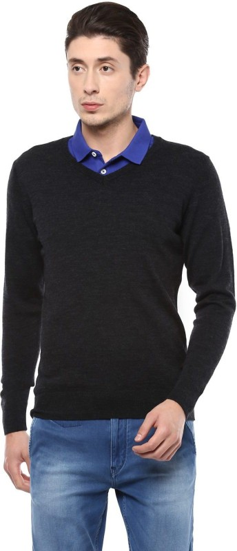 Allen Solly Self Design V-neck Casual Men Black Sweater