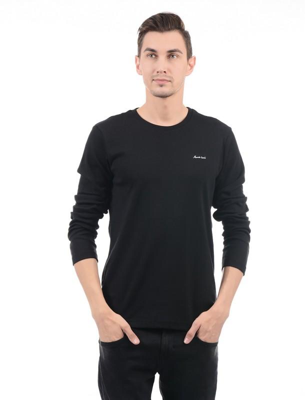 Monte Carlo Solid Men Round Neck Black T-Shirt