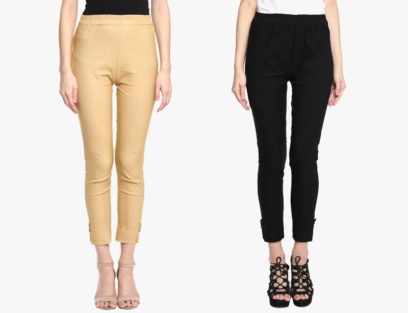 Broadstar Regular Fit Women Gold, Black Trousers