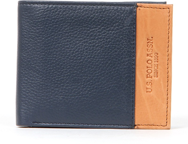 U.S. Polo Assn Men Blue, Brown Genuine Leather Wallet(8 Card Slots)