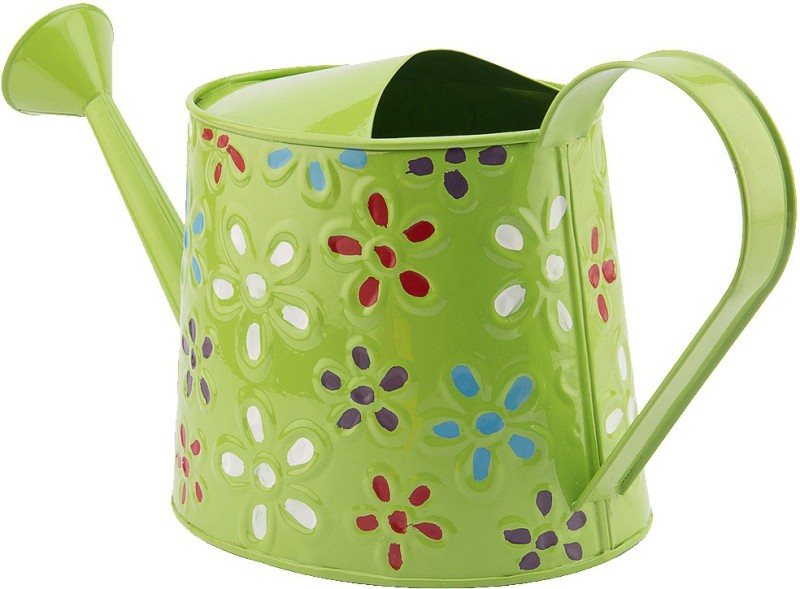 NUHA Hand Painted Watering can 2.5 L Water Cane(Green, Pack of 1)