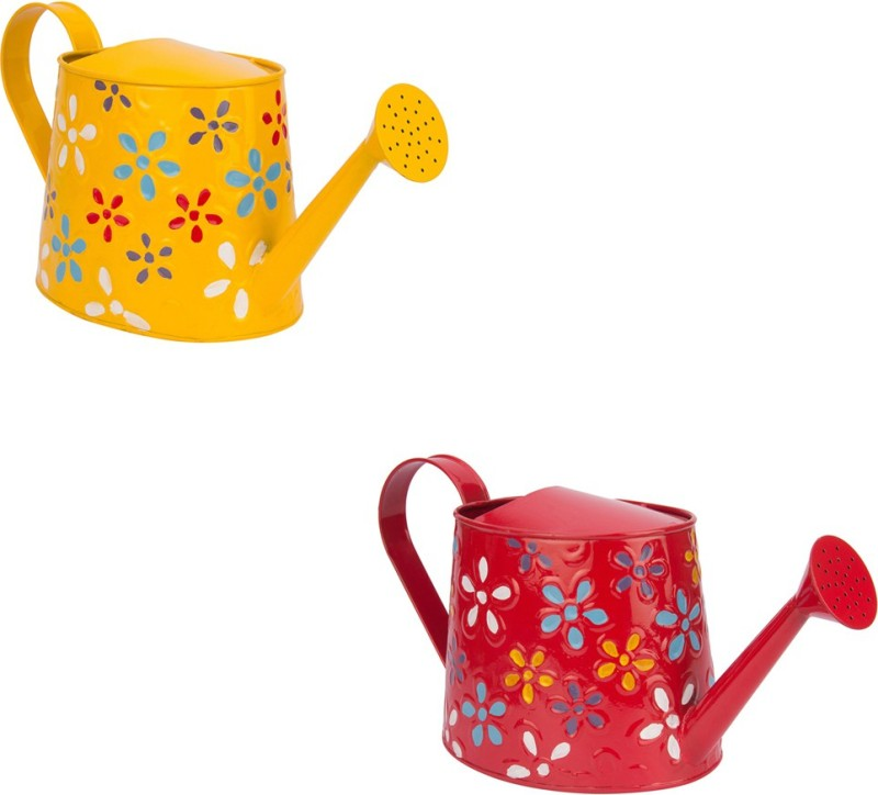 NUHA Set of 2 Hand Painted Watering Can 2.5 L Water Cane(Multicolor, Pack of 2)