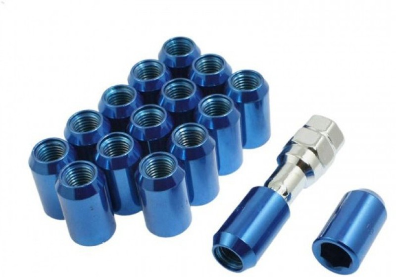 Fuji 16 Pcs M12 x 1.5 Blue Metal Hex Locking Lug Nuts Screw Anti-theft for Vehicles Car Wheel Lock