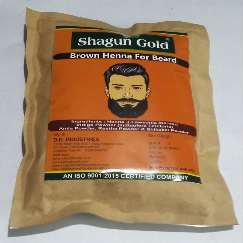 shagun gold Pure & Natural Beard brown color cover your Gray Mustache For Men 200gm Hair Color(green)