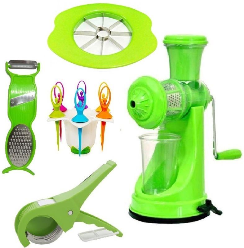Jen Super Combo of Vegetable Cutter + Apple Cutter + 3in1 Peeler + Fruit Fork + Prime Manual Plastic, Steel Hand Juicer(Green Pack of 5)
