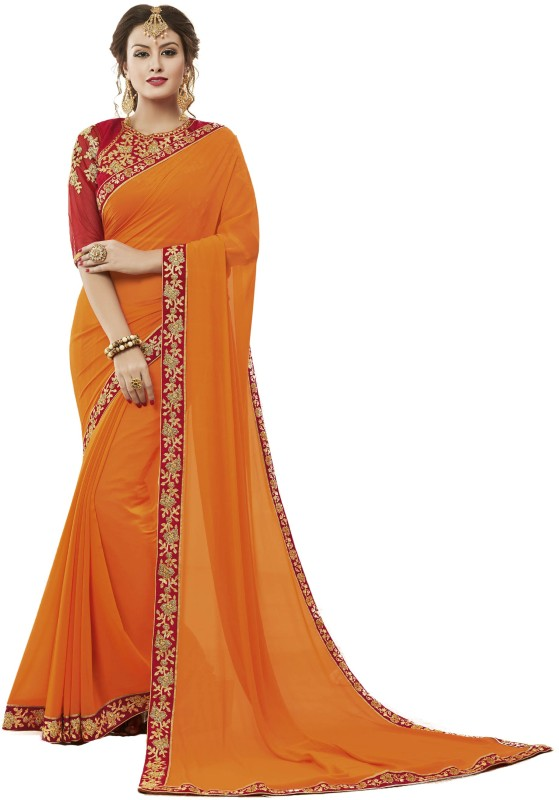 Bombey Velvat Fab Printed Daily Wear Georgette Saree(Orange)