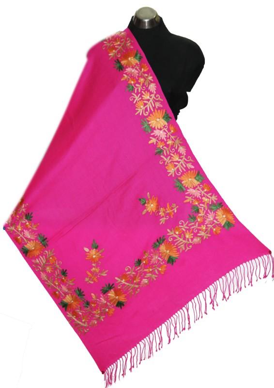 okko Wool Embroidered Women's Shawl(Pink)