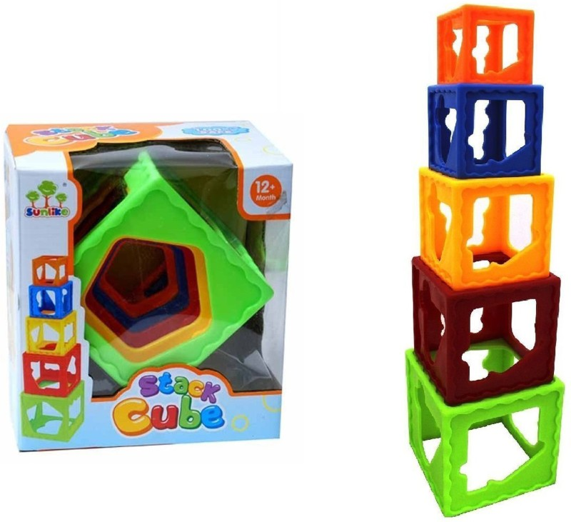 RVOLD Bright Multi Color Stacking Cubes / Nesting Cubes For Kids(Multicolor)