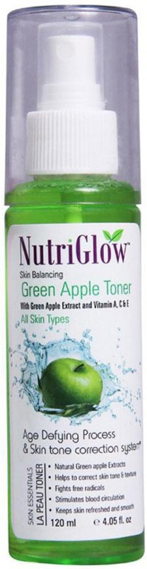 Nutriglow Skin Balancing Green Apple Toner With Vitamin A,C & E(120 ml)