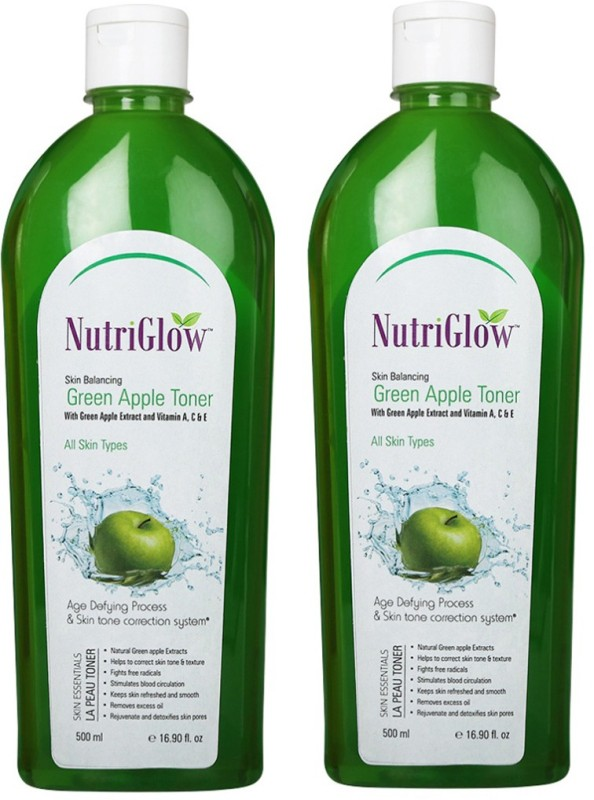 Nutriglow Skin Balancing Green Apple Toner With Vitamin A,C & E Pack Of 2(500 ml)