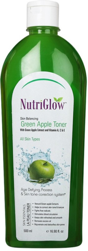 Nutriglow Skin Balancing Green Apple Toner With Vitamin A,C & E(500 ml)