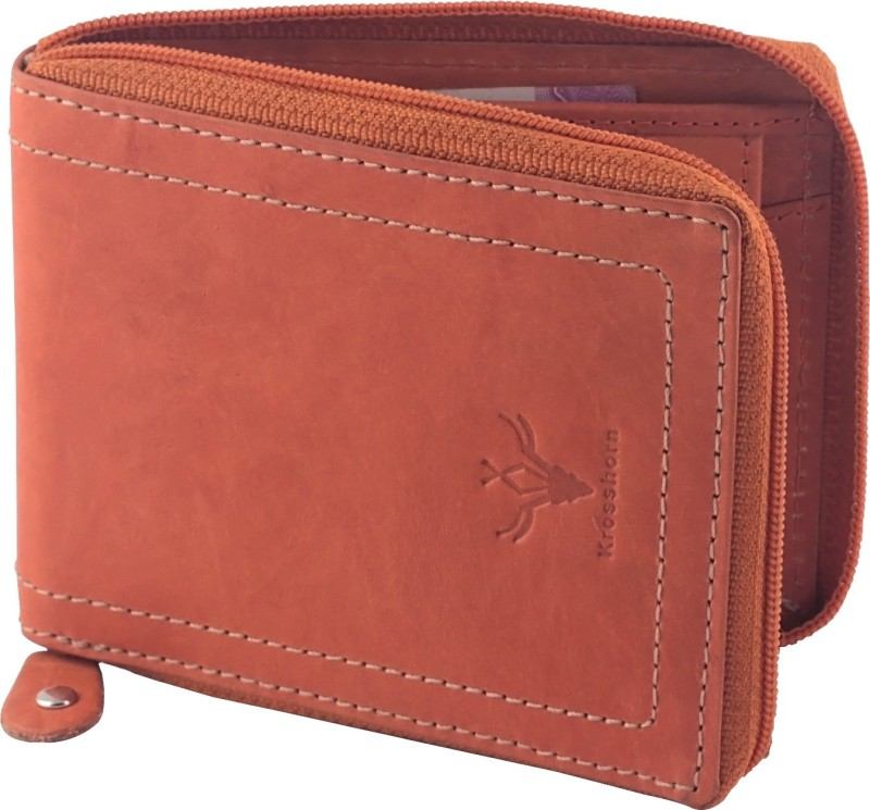 Krosshorn Men Tan Genuine Leather Wallet(6 Card Slots)