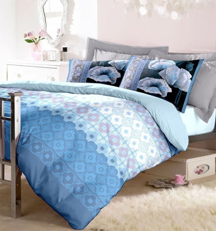 RAYMOND HOME 144 TC Cotton Double King Abstract Bedsheet(1 Bedsheet with 2 Pillow Covers, Blue)