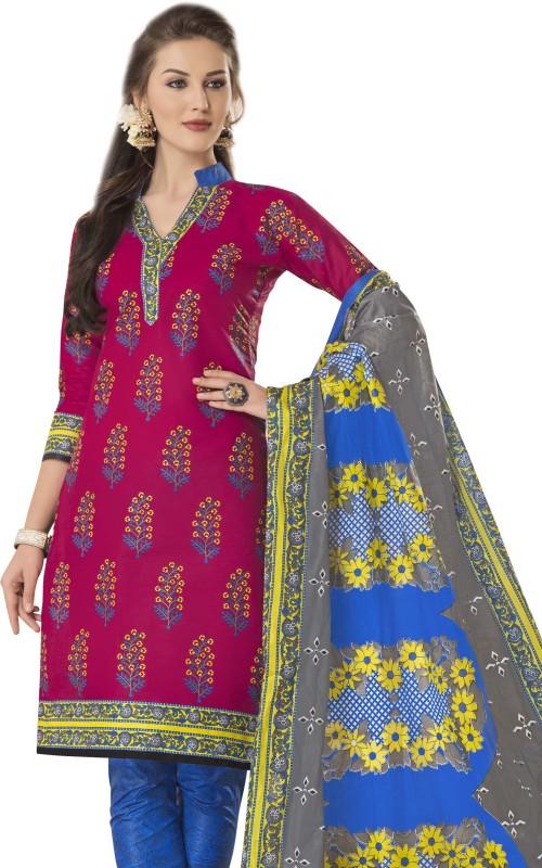 HRINKAR Cotton Printed Semi-stitched Salwar Suit Dupatta Material